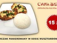 Kurczak panierowany w sosie musztardowym (chicken cutlet with mustard sauce)