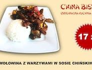 Wołowina z warzywami w sosie chińskim (Beef with vegetables in chinese sauce)