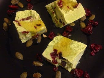 Here we have our Kale & coconut ice-cream with cranberries & pumpkin seeds