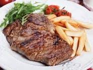 Stek z udżca wołowego dojrzewajacy + Frytki i surówka