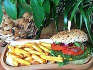 Zielony Burger + frytki ze skórką 200g