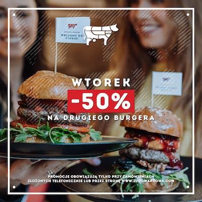 We Wtorek rabat 50% na drugiego burgera!