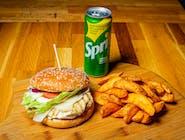 BURGER DE PUI + cartofi prăjiți +doză suc