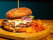 Burger Evo cu cartofi wedges și suc la doză