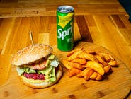 BURGER VEGETARIAN + cartofi prăjiți +doză suc