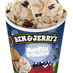 Ben 7 Jerry's Netflix & Chilll'd 500 ml - Lody z kremem z orzechów ziemnych z masą słodko-słonymi preclami oraz kawałkami ciastek brownie