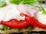 Pierś z kurczaka z grilla z pomidorem zapiekana serem + dodatki do wyboru