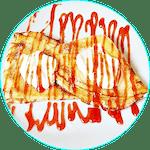 Naleśniki z serem śmietana i cukrem ( polewa truskawkowa )
