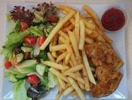 Grillowana pierś + frytki + sałatka