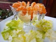 Creveți cu sos Dijon și salată verde
