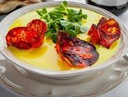 Krem serowy/ pomidory/ pestki dyni