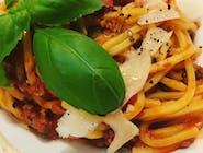 Spaghetti / mielona wołowina / pomidory / grana padano