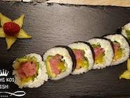 Tuńczyk, ogórek, awokado, rzepa, sałata, serek