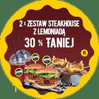 30 % taniej, 2 x SteakHouse Burger Zestaw