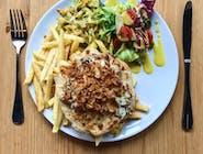 Zestaw : Filet drobiowy pod chmurką z grillowanych pieczarek i brokuła zapiekany pod serem + ZUPA