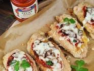 Zestaw : Zapiekany kurczak pod serem z suszonymi pomidorami, pieczarkami i pastą warzywną Ajvar + ZUPA