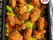 Zestaw: Smażony ryż z warzywami z chrupiącymi kawałkami kurczaka w panierce panko + Zupa