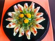 Makaronowe muszle wypełnione serkiem czosnkowym z szynką, papryką i kiełkami