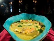 Tajska zupa kokosowa z przegrzebkami, ryż jaśminowy