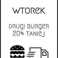 Wtorkowa promocja! Drugi burger - 20% taniej!