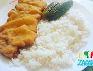 Zagi vyprážaný bravčový rezeň + ryža + kyslé uhorky (1,3,7)