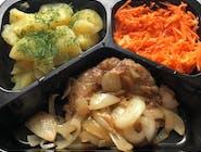 Stek   wieprzowy  z  cebulką , ziemniaki z  koperkiem  ,surówka