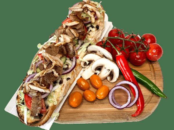 Zapiekanka z mięsem kebab