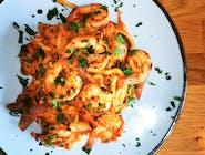 Udon z krewetkami i kimchi