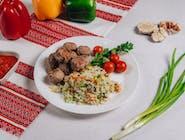 Frykadelki smażone+ryż z warzywami