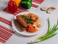 Kiełbaski lwowskie+ziemniaki wiejskie