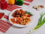 Frykadelki w sosie+ziemniaki wiejskie