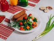 Kiełbaski lwowskie+warzywy gotowane