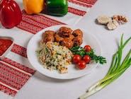 Frykadelki w sosie+ryż z warzywami
