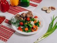 Frykadelki w sosie+warzywy gotowane