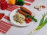 Kiełbaski lwowskie+ryż z warzywami