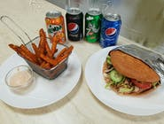 Kebab MENU s kuracím mäsom s  klasickou žemľou  s batátovými hranolkami