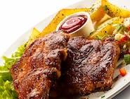 Karkówka Grillowana BBQ z warzywami z rusztu / Sos Madziarski/ ziemniaczki ,ryz ,kasza /surówka