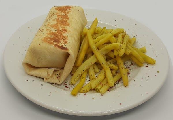 Burrito z wieprzowiną BBQ, czerwoną fasolą