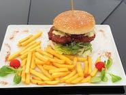 Chickenburger  z frytkami