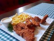 Stripsy z kurczaka za sosem