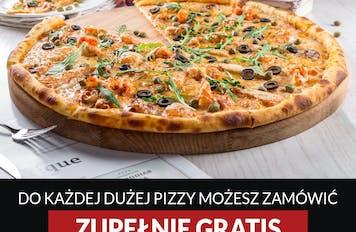 Zamów pizzę o rozmiarze 50cm  i odbierz GRATIS pizzę o rozmiarze 20cm z dowolnym składnikiem  ( Nie dotyczy Pizzy Dnia)