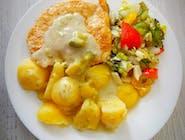 Zupa: Grochowa : Danie: Filet z kurczaka w sosie brokułowym, ziemniaki, surówka