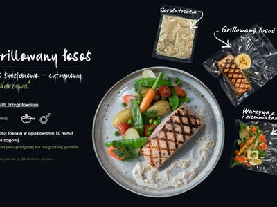 Łosoś - grillowany filet z łososia, ziemniaczane puree cytrynowe, szpinak