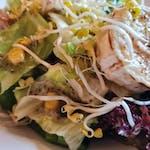 Salátové listy s kozím sýrem, klíčky, praženou kukuřicí, chia semínky a citrusovým dresinkem