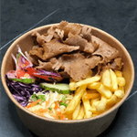 Kubełek: frytki, surówka, mięso, sos
