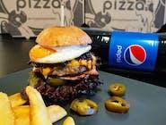 Menu 2: Burger Jalapeňos + hranolky + 1,5l Pepsi Cola
