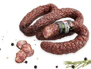 Duda Kiełbasa jałowcowa sucha ok.0,6g.Produkt wędzony,suszony,bezglutenowy. 0,6 KG 100g wyprodukowano z 154g mięsa wieprzowego.  Numer artykułu 16262591