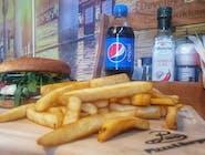 Burger Italiano - zestaw z frytkami belgijskimi i Pepsi 0,5 l.