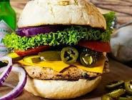Burger pikantny z grillowanym kurczakiem