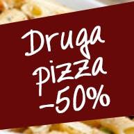 Rabat na drugą pizzę 50%